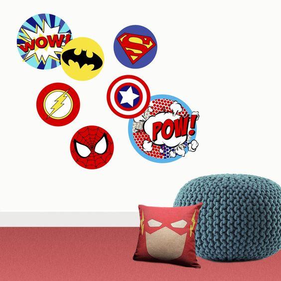 vinilo decorativo con imagenes de superheroes