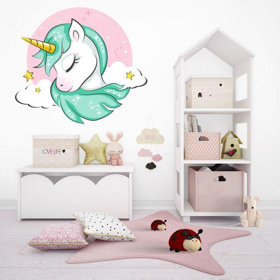 vinilo decorativo dormitorio de unicornio