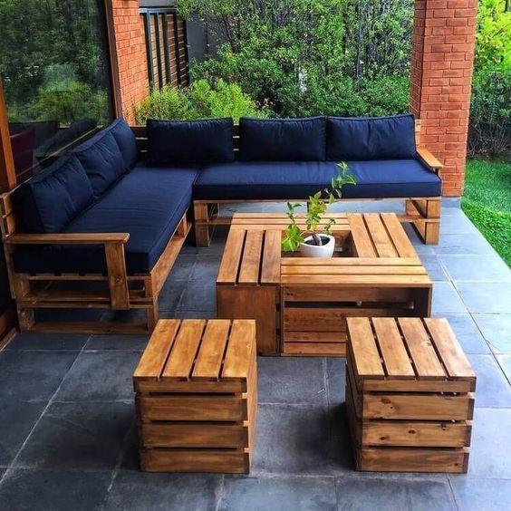Muebles exterior jardin de madera recuperada