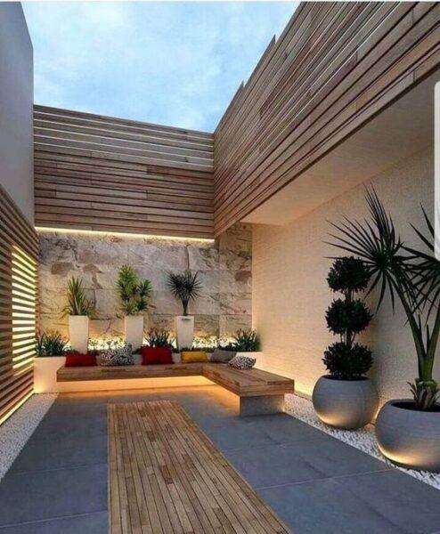 Patio pequeño moderno minimalista sin cesped