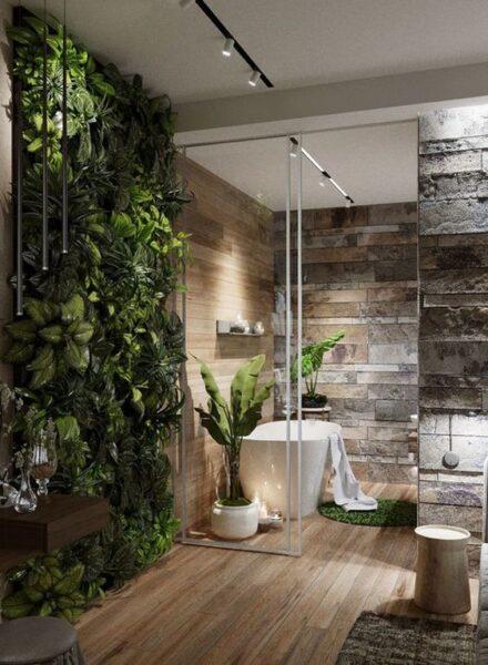 baños con piedra madera y plantas