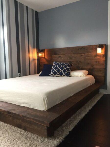 cabecero de cama con madera recuperada