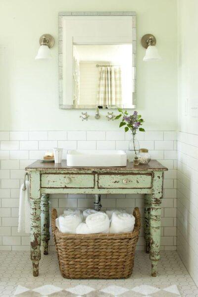 decoracion vintage para baño