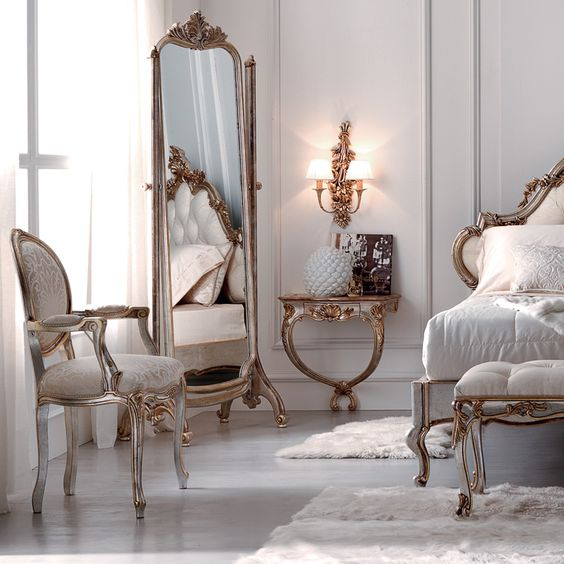 dormitorio estilo rocoo crema y dorado