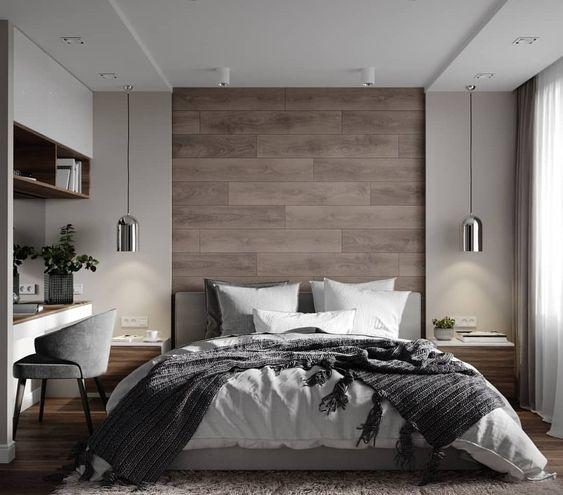 dormitorio moderno con luz empotrada ambiental y veladores colgantes