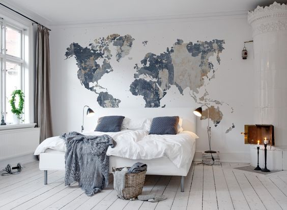 gigantografia de mapa en dormitorio