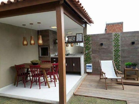 patio pequeño con asador techado