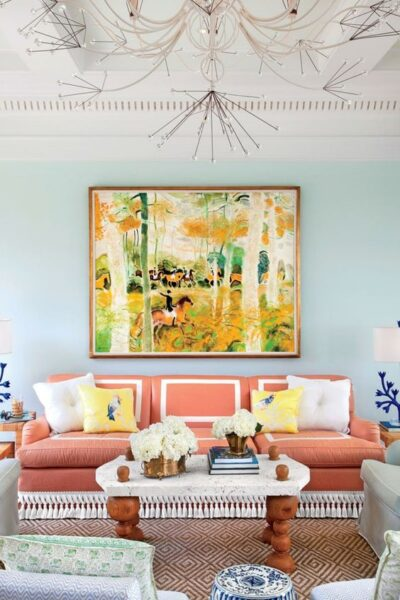 sala de estar celeste y naranja
