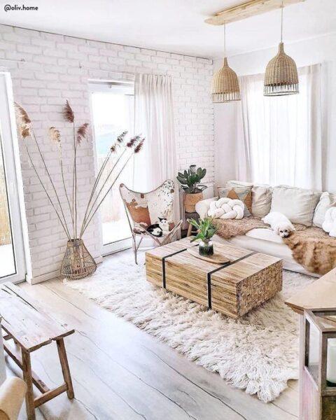 sala de estar rustica moderna