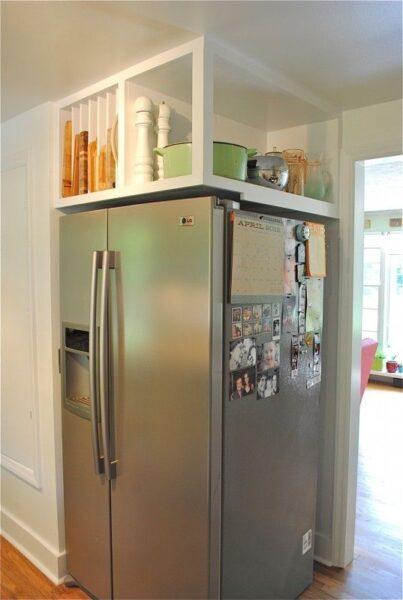 aprovechar arriba de la heladera para organizar cocina