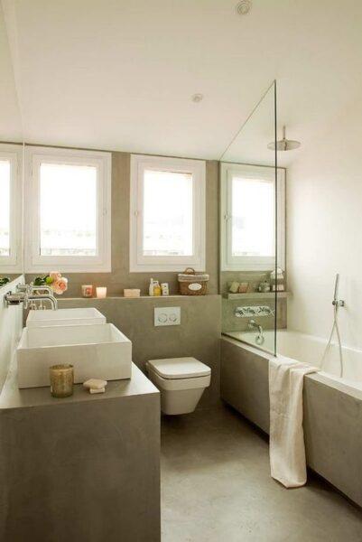 baño con doble lavado con microcemento