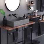 baño moderno y elegante con pared de mircrocemento