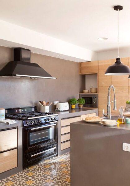 cocina de cemento alisado rustica y moderna