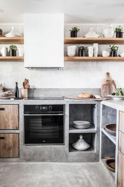 cocina microcemento rustica y moderna