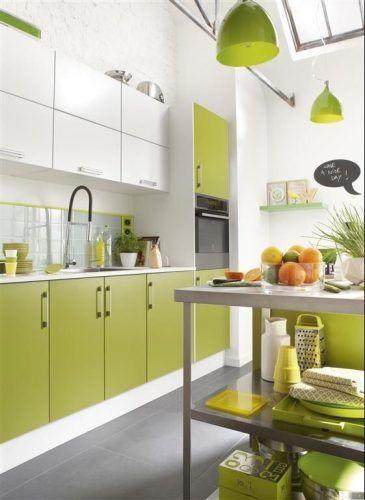 cocina moderna verde lima muebles