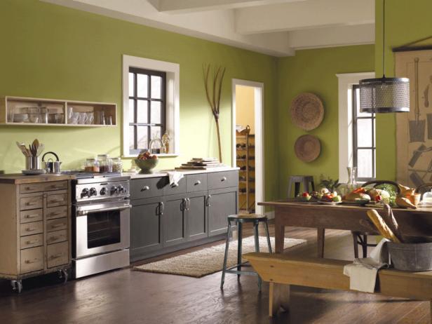 cocina rustica moderna verde lima y gris