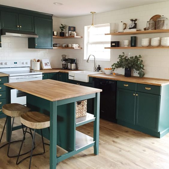 cocina verde azulado rustica moderna