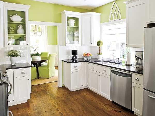 cocina verde lima y blanca moderna