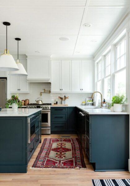 cocina verrde azulado