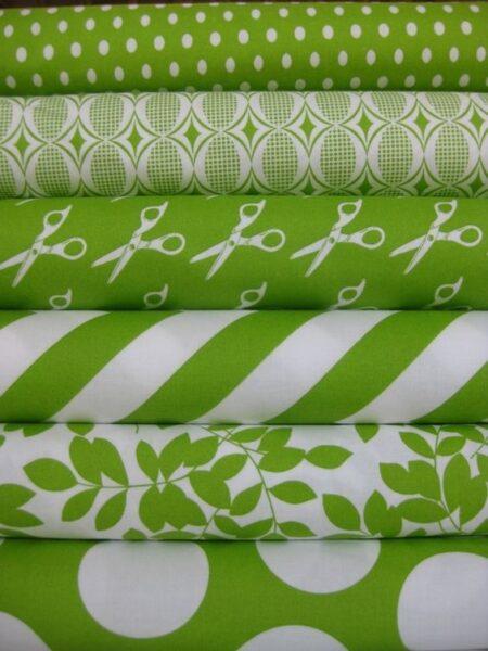 manteles verde lima y blanco