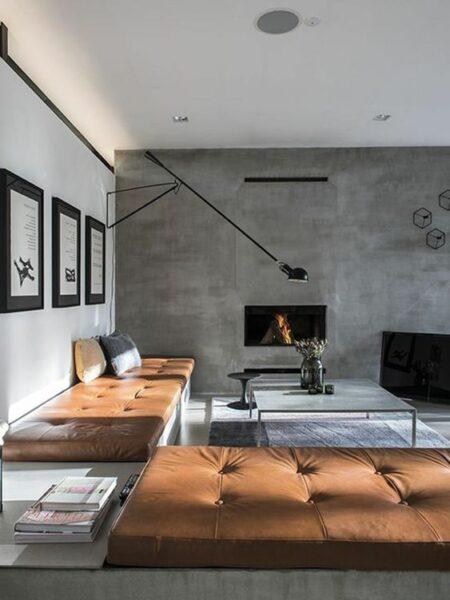 sala de estar moderna minimalista con microcemento
