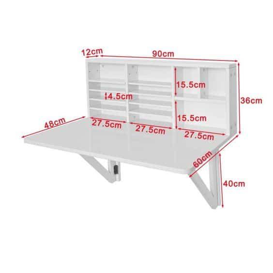 Diseño con medidas para escritorio rebatible de madera