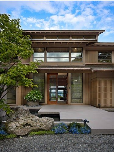 Exterior de casa moderna de estilo japones