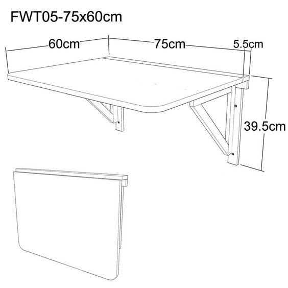 Medida para mesa o escritorio simple plegable de madera