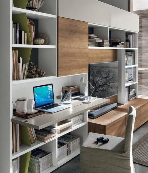 Mueble multifuncion con escritorio rebatible