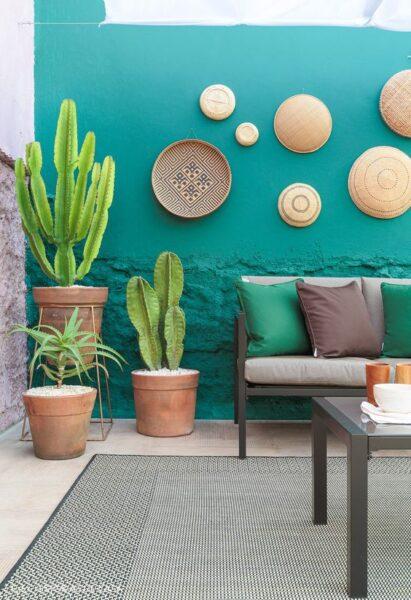 Patio o Jardin con muro pintado de turquesa