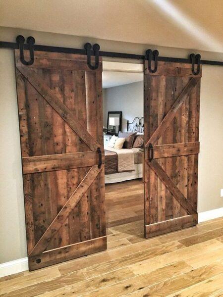 Puerta granero rustica de hoja doble