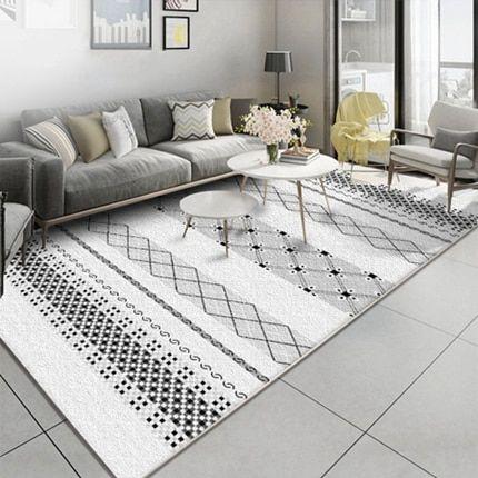 alfombra para sala estar blanca y negra