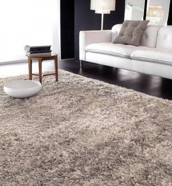 alfombra peluda para piso negro de living