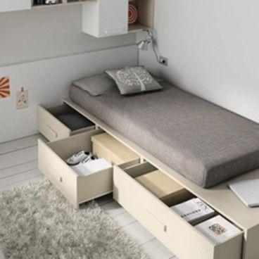 cama con cajones de una plaza