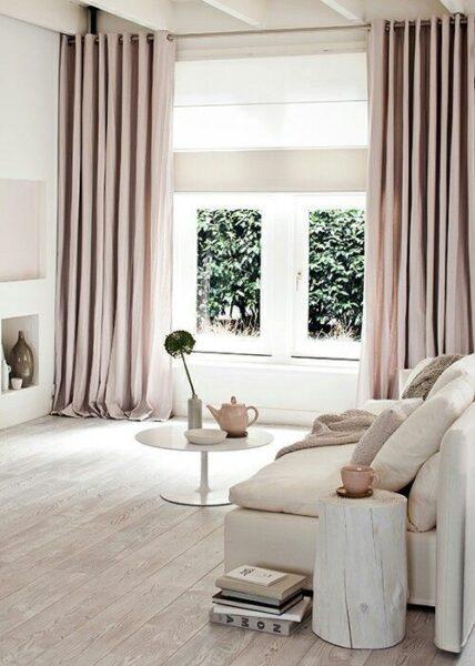 cortina de seda beige moderna