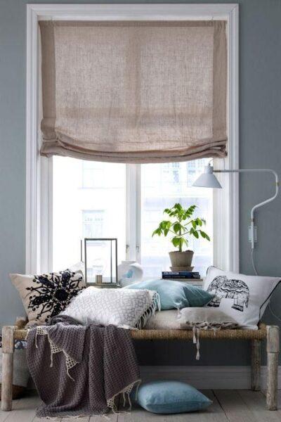cortinas romana para sala de estar moderna de estilo rustico