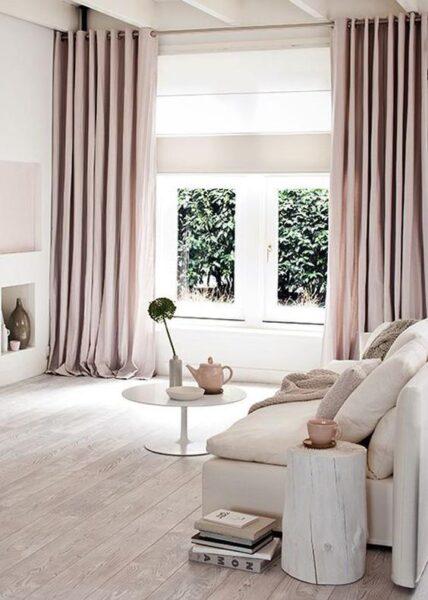 cortinas rosa apara sala de estar