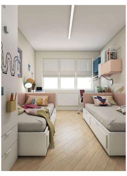 dormitorio juvenil pequeño para dos mujeres