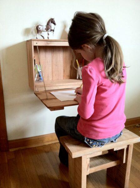 escritorio plegable facil de madera para niños
