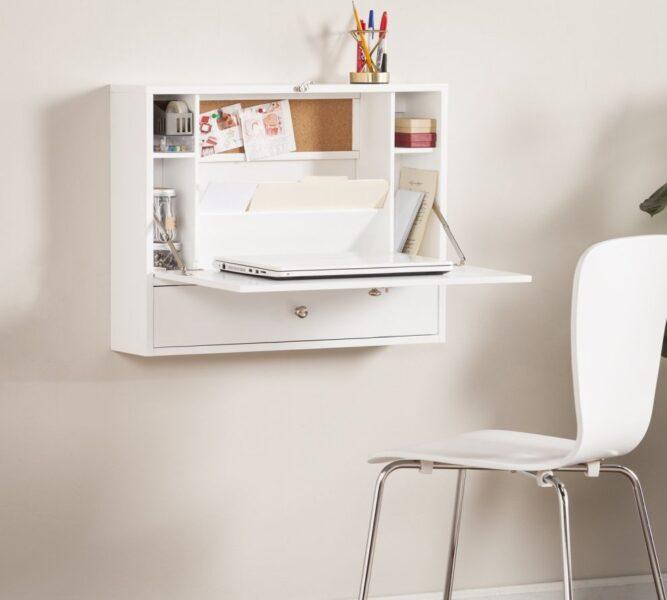escritorio plegrable empotrado blanco minimalista moderno