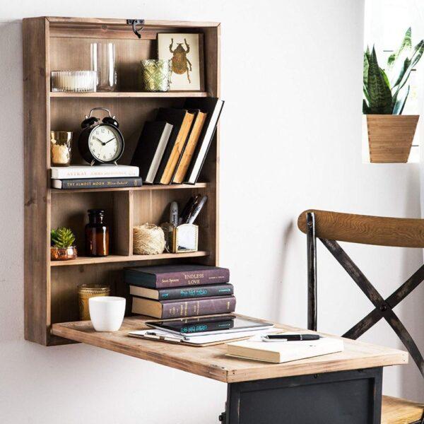 escritorio rebatible en estanteria de madera mdf