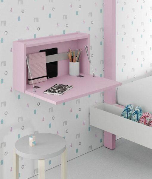 estanteria flortante rosa con escritorio plegables para niñas