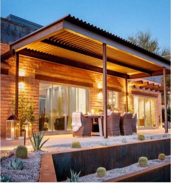 galeria para casa con techo de chapa