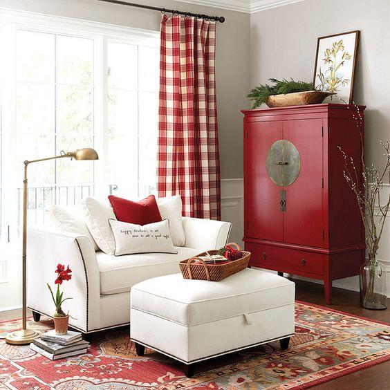 living estilo clasico en color rojo y blanco