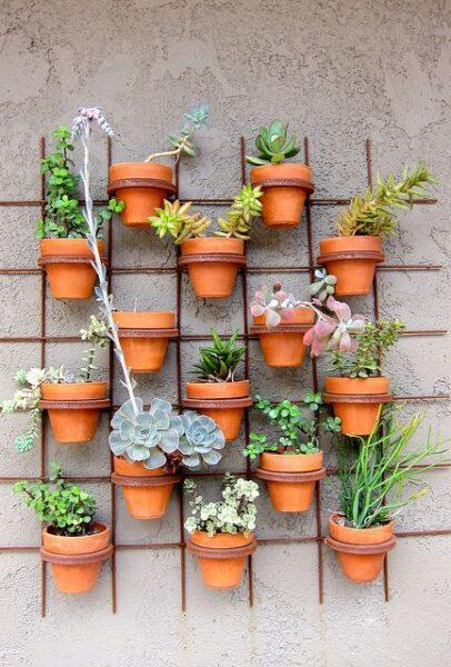 maceta de suculentas colgadas en muro de jardin