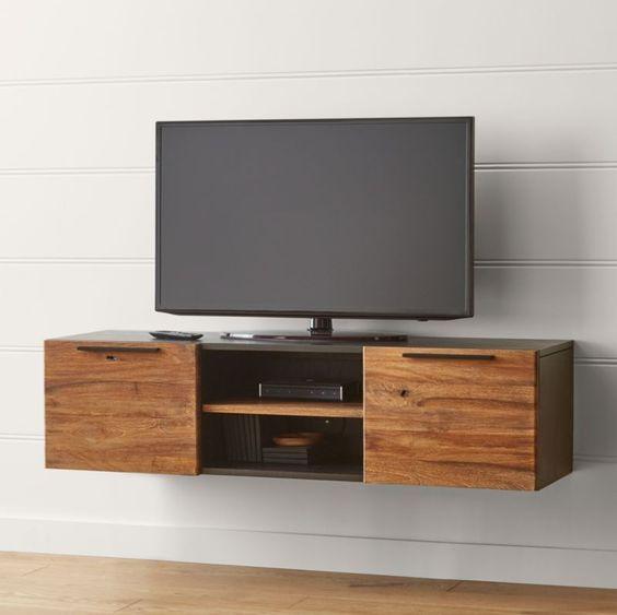 mueble flotante minimalista de madera para television