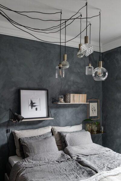 pared de dormitorio gris ocura esponjada