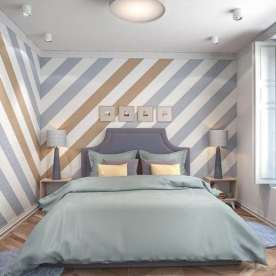 pared pintada con rayas diagonales