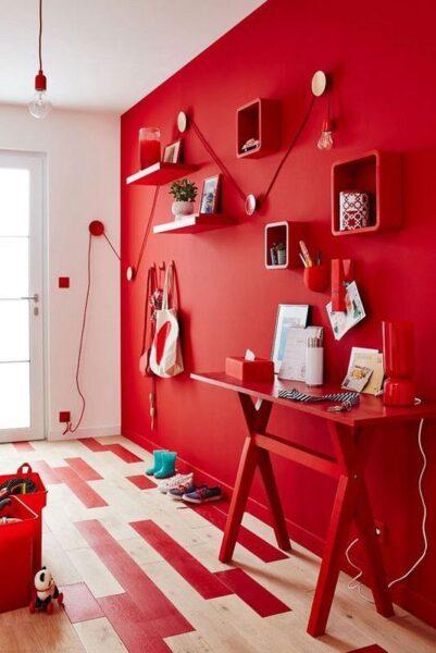pared roja en living