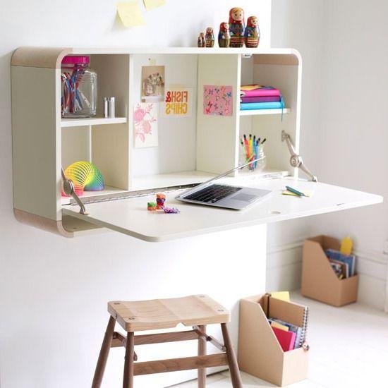 pequeña estanteria con mesa rebatible para niños